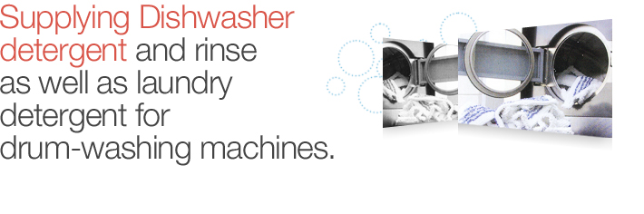 Supplying Dishwasher detergent and rinse as well as laundry detergent for drum-washing machines.